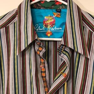 NWT Robert Graham XL Striped Shirt